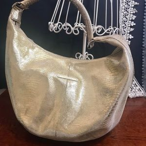 Calvin Klein  Gold Metallic Snakeskin Hobo Bag